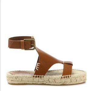 Chestnut brown leather Soludos Espadrille sandal